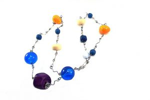 Collier multicolore sur fil - Collection Samarcande