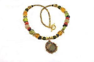 Collier au fil et pierre fossile - Collection Sidarta