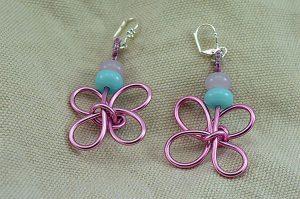 Boucles d'oreilles fil en alu rose clair - Collection Gozo