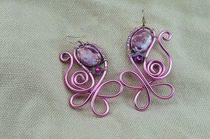 Boucles d'oreilles fil en alu violet clair - Collection Gozo