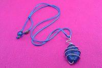 Pendentif en verre bleu et fil d'alu 2 - Collection Sydney