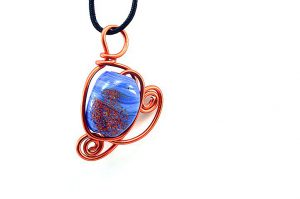 Pendentif en verre bleu et orange - Collection Sydney