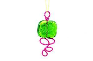 Pendentif en verre vert et fil d'alu - Collection Sydney