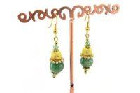 Boucles d'oreilles en jade et dorées