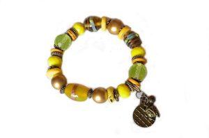 Bracelet en perles de verre et bronze