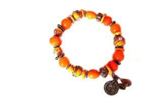Bracelet en perles de verre et cuivre