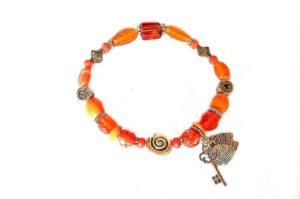Bracelet en perles de verre et argenté