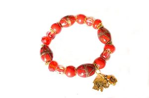 Bracelet en perles lampwork et doré