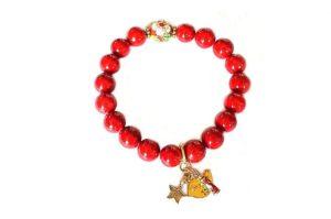 Bracelet uni rouge et cloisonné